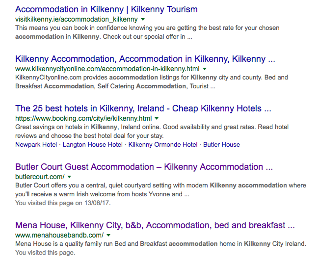 seo for accommodation providers ireland